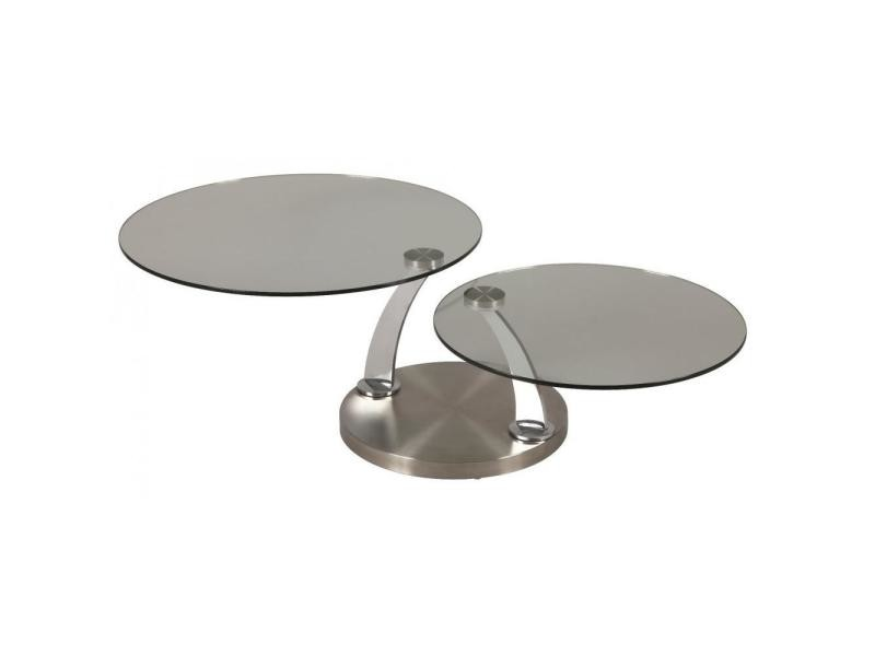 Table à plateaux pivotants steel en verre piétement acier brossé 20100841466