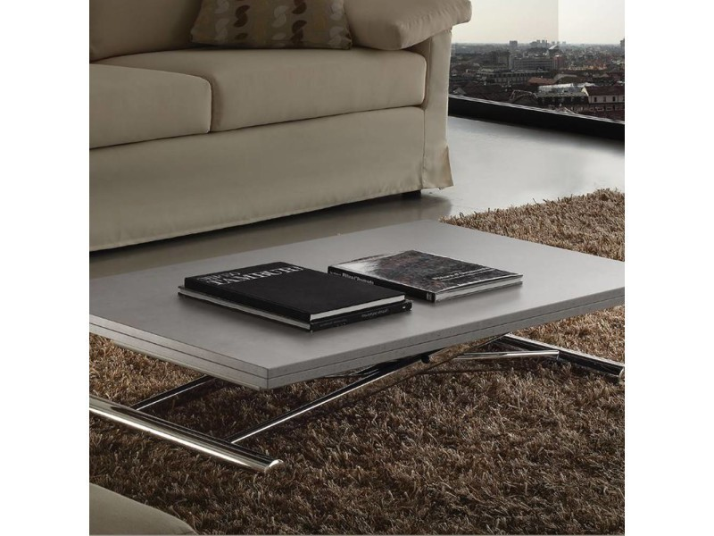 Table basse relevable extensible lift wood gris b ton - Table basse relevable extensible conforama ...