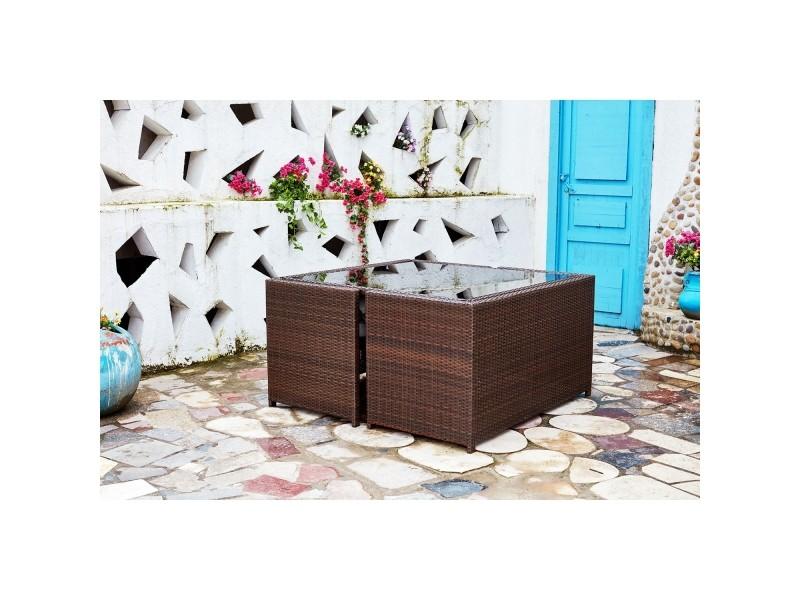 Nouméa marron/blanc : salon de jardin encastrable en résine ...