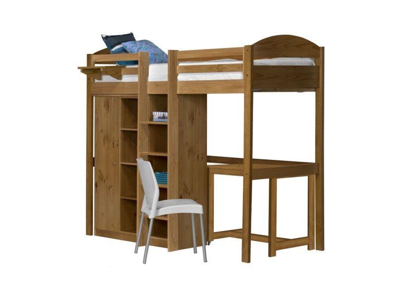 Lit mezzanine munoz 90 x 190cm pin massif avec armoire et commode ...