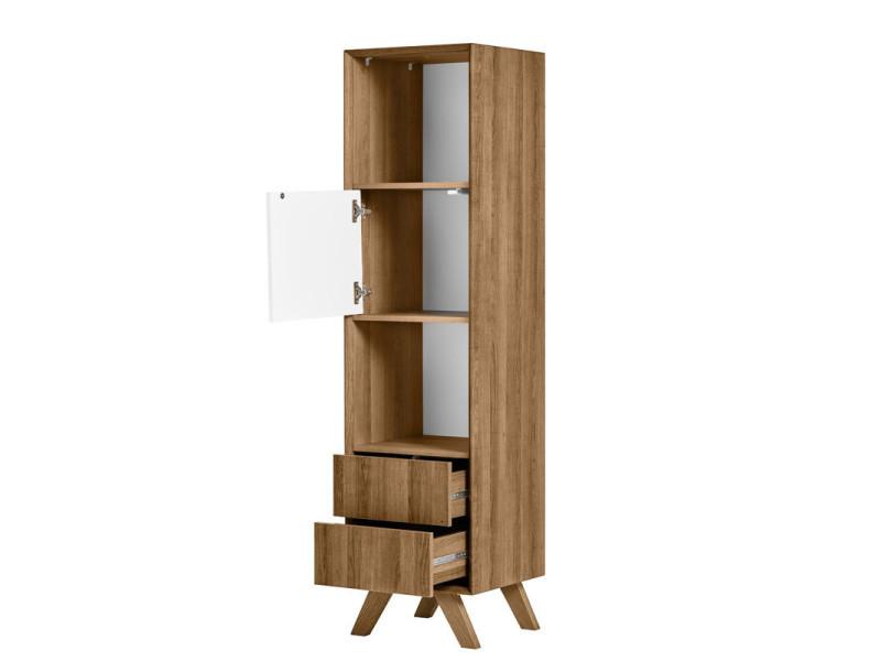 Colonne de rangement bois/blanc - nadia - l 41 x l 40 x h 162 - neuf - Vente de Bibliothèque ...