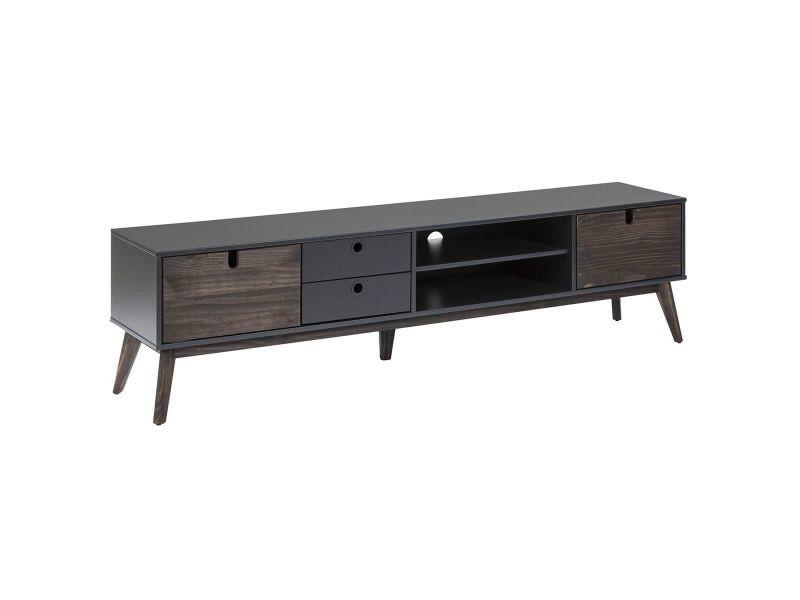 Lily - meuble tv 2 portes 2 tiroirs bois et gris foncé