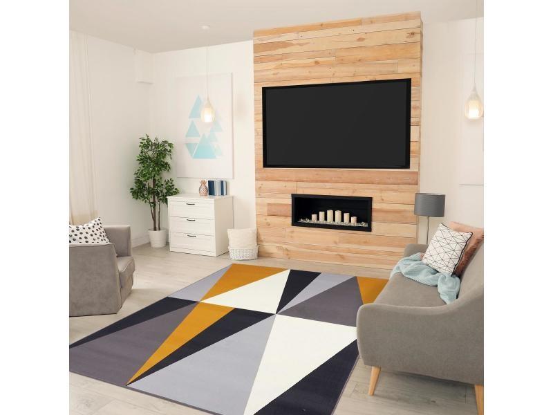 Tapis moderne et colore pour salon af bigtri jaune, gris, noir, blanc ...
