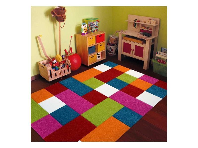 Tapis multicolore carreaux orange, bleu, rouge, vert 120 x 170 cm ...