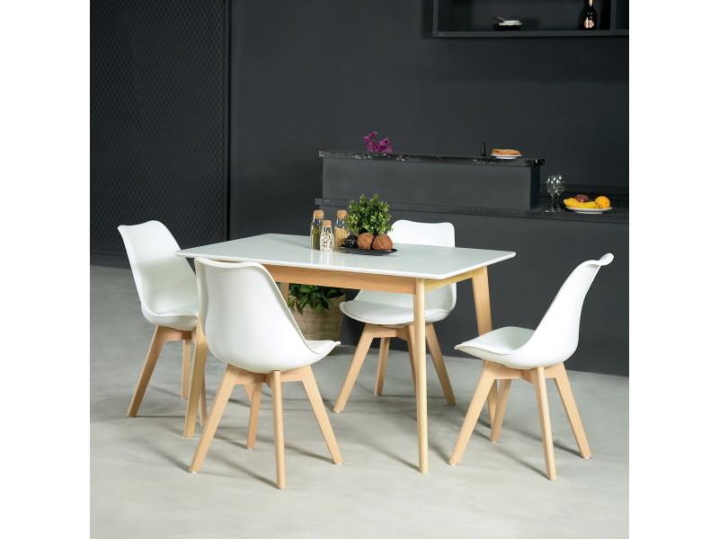 Ensemble table à manger rectangulaire et lot de 4 chaises