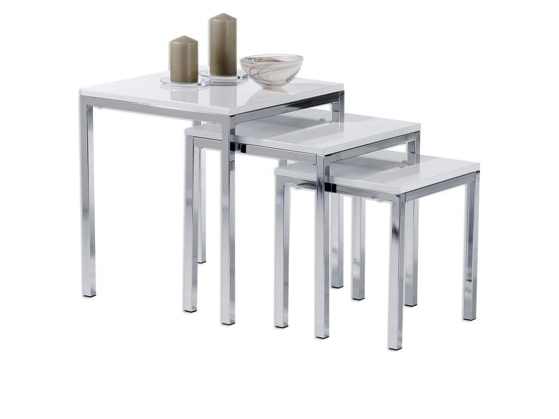 Lot De 3 Tables Basses Gigognes Luna Chrome Laque Blanc Vente De