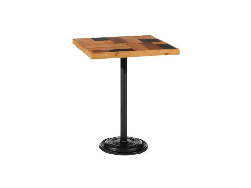 Table de repas carrée métal/bois - brutus - l 60 x l 60 x h 76 - neuf