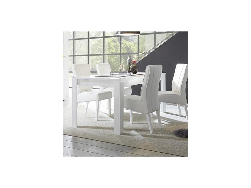 Table A Manger Blanc Laque Brillant Design Dominos L 180 Cm Sans Rallonge Vente De Kasalinea Conforama