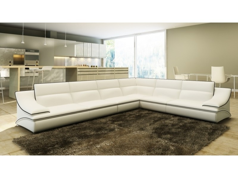 f198661c0fa Canapé d angle cuir design blanc et noir roxa- - Vente de Canapé d ...