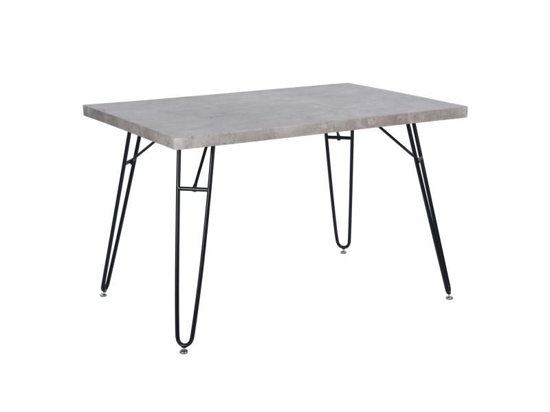 Table à manger 4 places bois métal gris