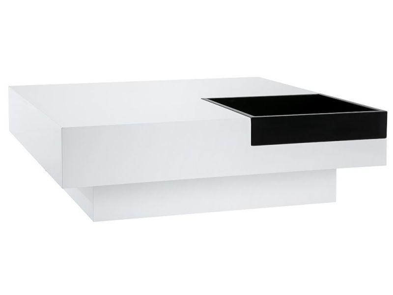 Table Basse Design Laquee Blanche Plateau Noir Amovible Teena