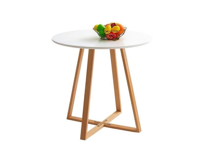 Table ¨¤ manger ronde design blanche mdf et bois h¨ºtre massif style scandinave 80 * 80 * 75cm