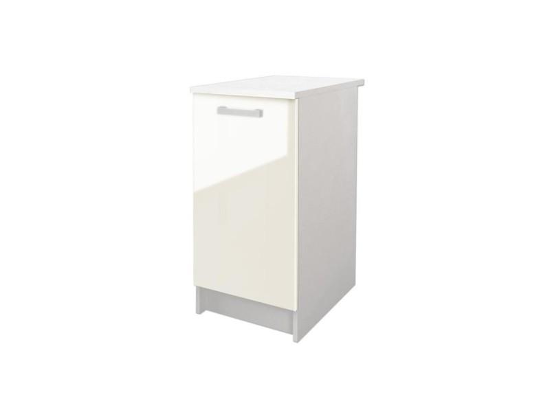 start meuble bas de cuisine avec plan de travail l 40 cm ivoire brillant vente de buffet. Black Bedroom Furniture Sets. Home Design Ideas