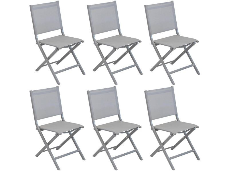 Chaises pliantes en aluminium brossé thema (lot de 6) - Vente ...