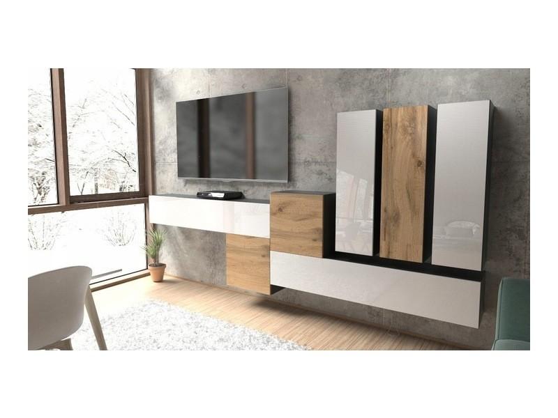 Ensemble d'armoires murales pour séjour noir / blanc / chêne wotan (mat)