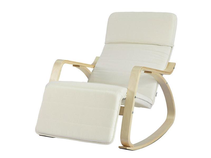 Fauteuil A Bascule Avec Repose Pieds Reglable Design Rocking Chair