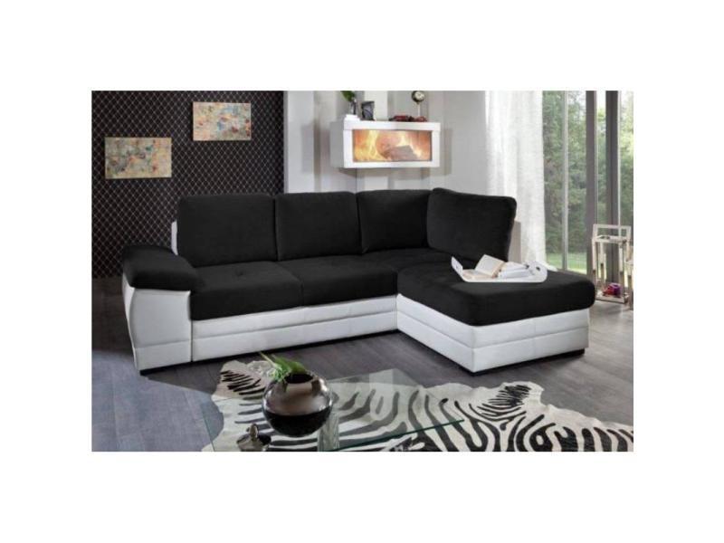 Canapé d'angle gigogne convertible sinope en bi matière noir et blanc méridienne droite 20100865660