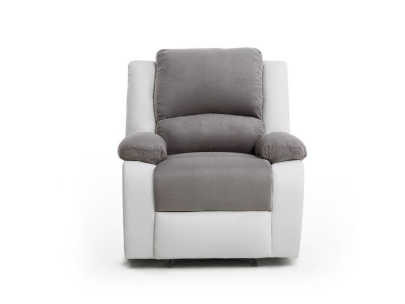 Fauteuil relaxation 1 place microfibre / simili detente - couleur - blanc / gris 9121GRBL1