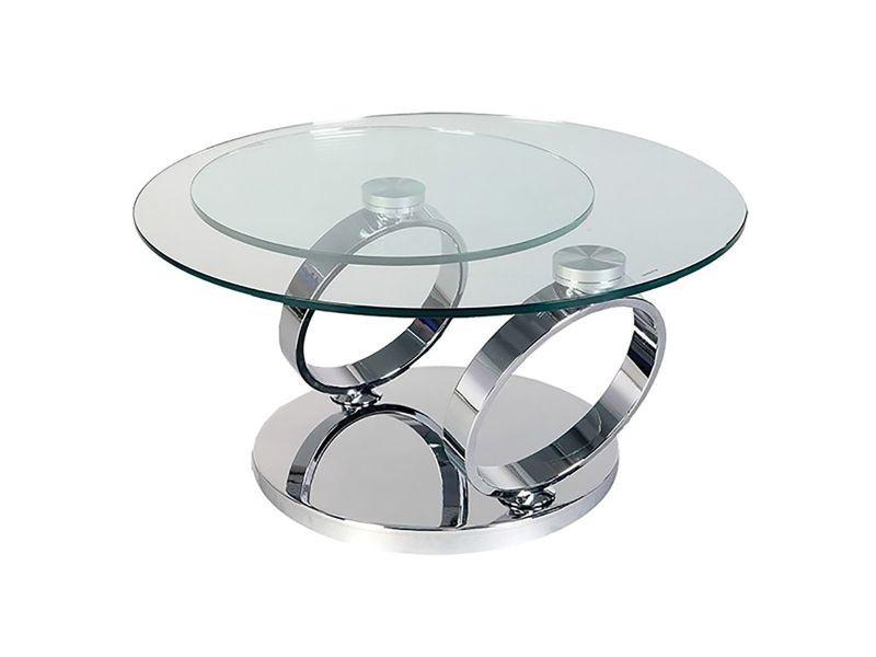 Venetia - table basse acier et 2 plateaux verre