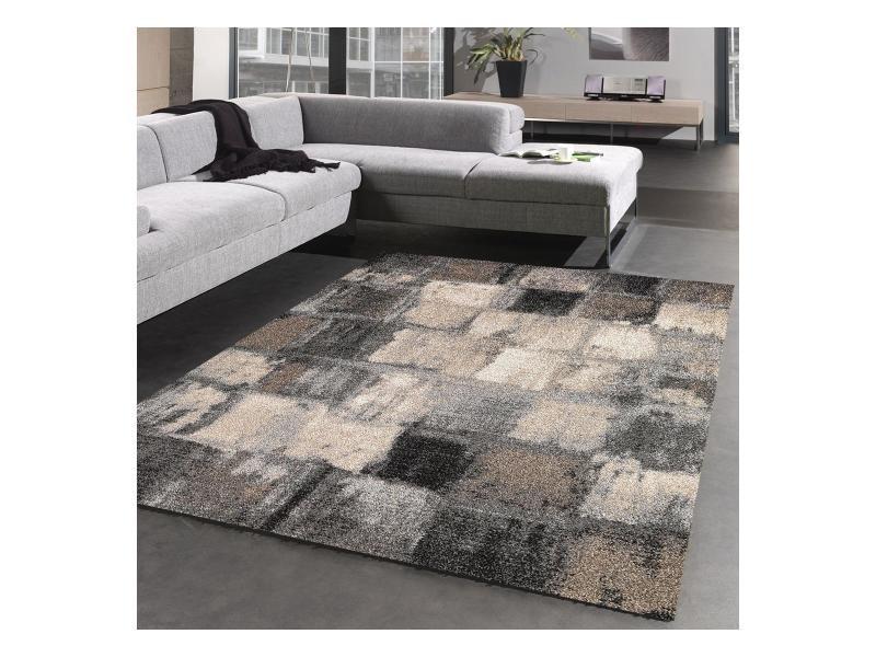 Tapis salon moderne et design carreaulegant 01, gris, beige, noir ...