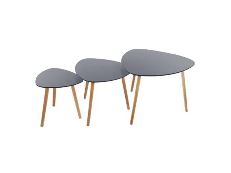 Paris prix - lot de 3 tables à café en bois \