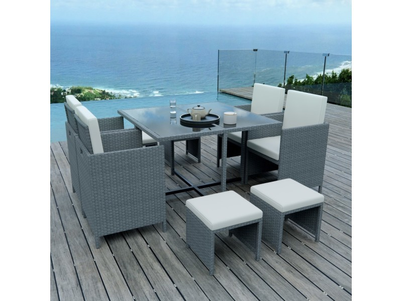 8 places - ensemble encastrable salon / table de jardin résine ...