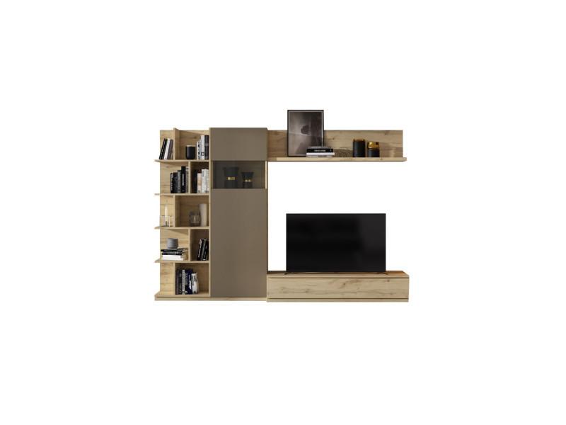 Composition meuble tv chêne blond/laque marron - camelia - l 270 x l 45 x h 185 - neuf
