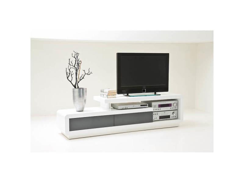 Meuble tv design blanc brillant/gris erwin