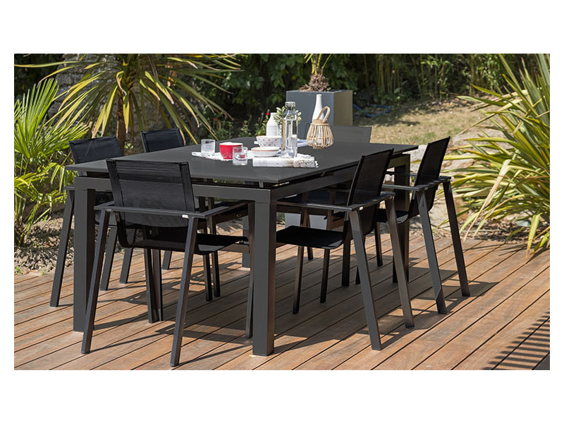 Salon jardin extensible 6 places miami alu et verre anthracite ...