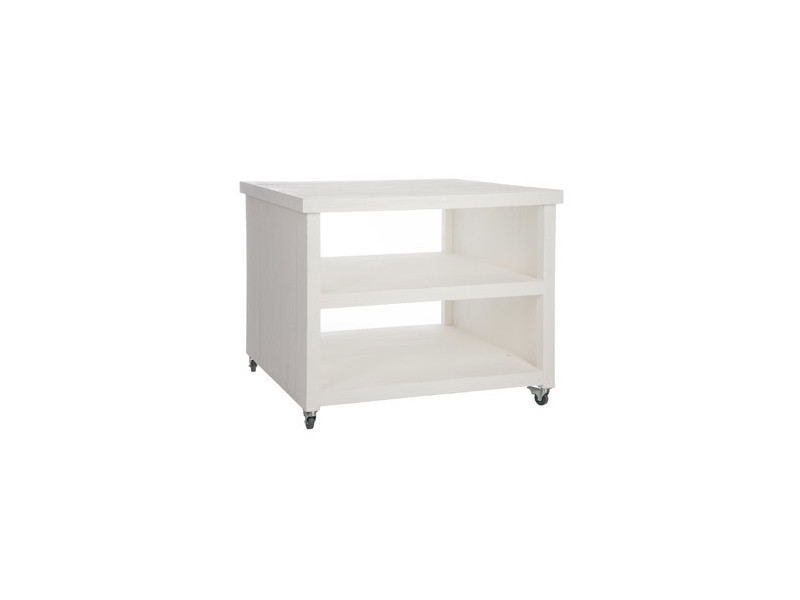 Table basse carrée en bois coloris blanc sur roulettes