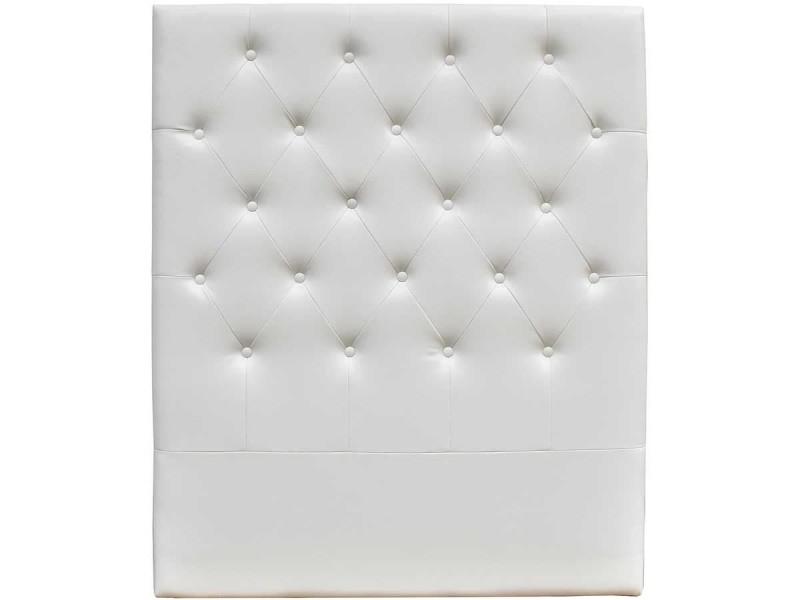 Tete de lit capitonnee 90 cm deco en pvc - blanc - Vente de HABITAT ET JARDIN - Conforama