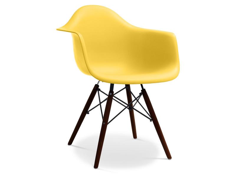 chaise daw piètement foncé charles eames - style - jaune - vente de