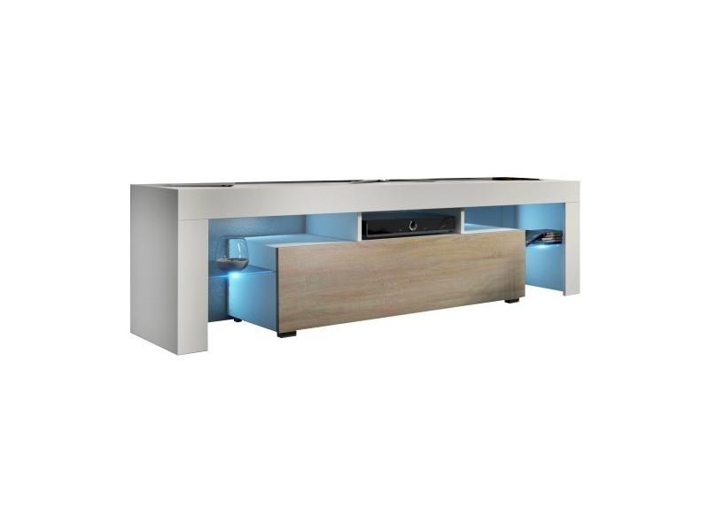 Meuble tv 160 cm blanc mat et chêne mdf avec led rgb