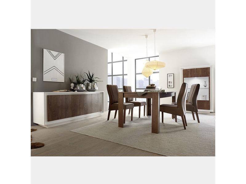 Ensemble salle a manger moderne blanc et couleur bois erine 6 ...