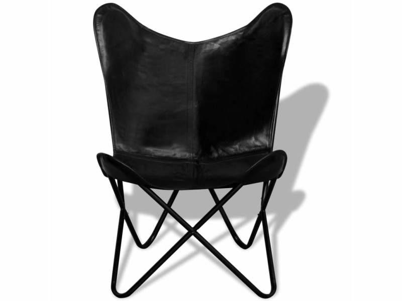 Icaverne - fauteuils club, fauteuils inclinables et chauffeuses lits categorie chaise papillon cuir véritable noir