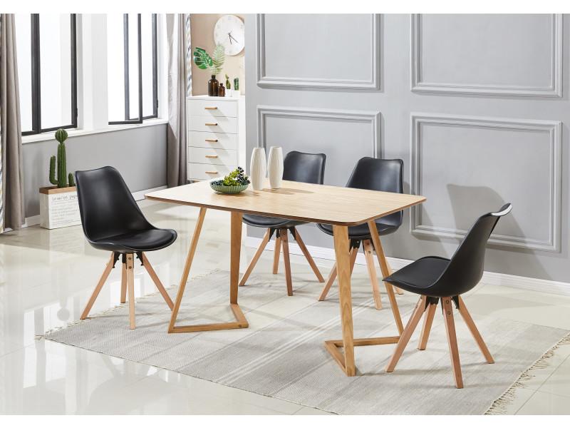 Table Blanche4 Scandinaves Ensemble À Noires Chaises Manger kXOPuwZilT