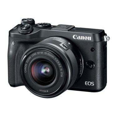 Appareil photo 24.2 mp canon eos m6 noir + ef-m 15-45 mm is stm - vidéo full hd 60p - dual af - ecran lcd tactile inclinable 3' - wi-f/nfc - bluetooth (boîtier nu)