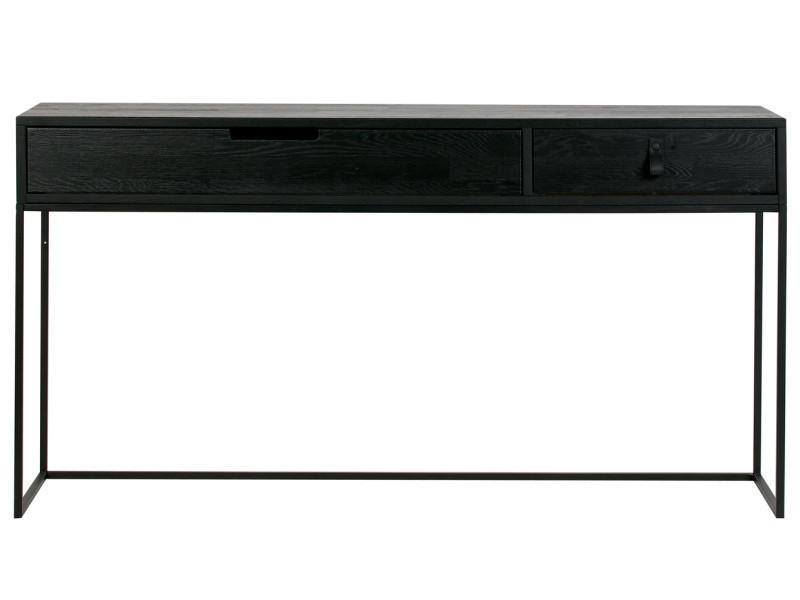 Console 2 tiroirs en chêne brossé noir - dim : h.74 x l.140 x p.40 cm -pegane-