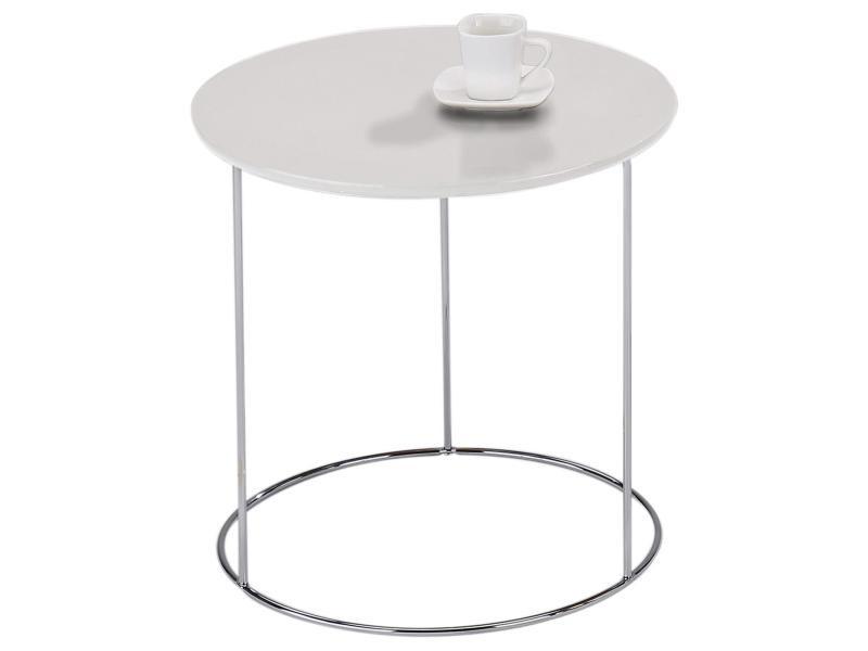 Table d'appoint fidelius table à café blanche table basse ronde bout de canapé design vintage industriel avec pied en métal chromé