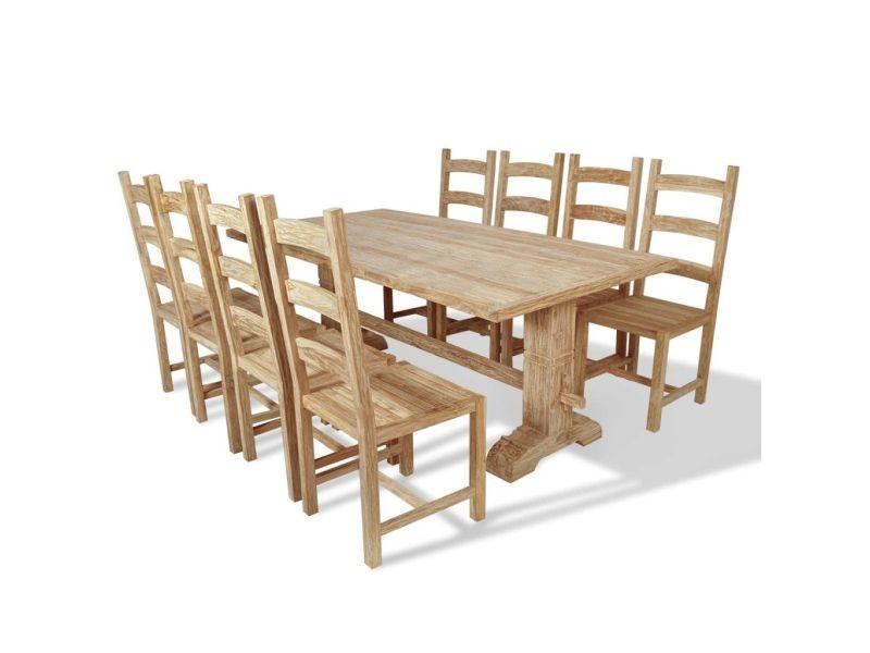 Genial Icaverne   Ensembles De Meubles De Cuisine Et De Salle à Manger Reference  Table Et Chaises De Salle à Manger Massives 9 Pièces Teck