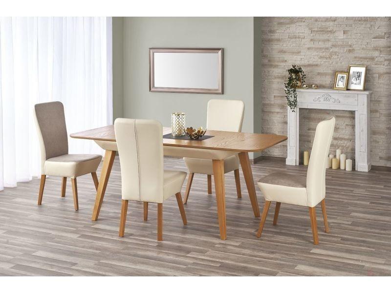 Table a manger rectangulaire extensible – l : 140 ÷ 190 cm x p : 85 cm x h : 76 cm – bois / chene miel