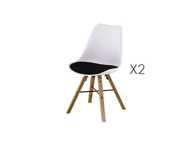 Lot de 2 chaises de repas blanc et noir - tya