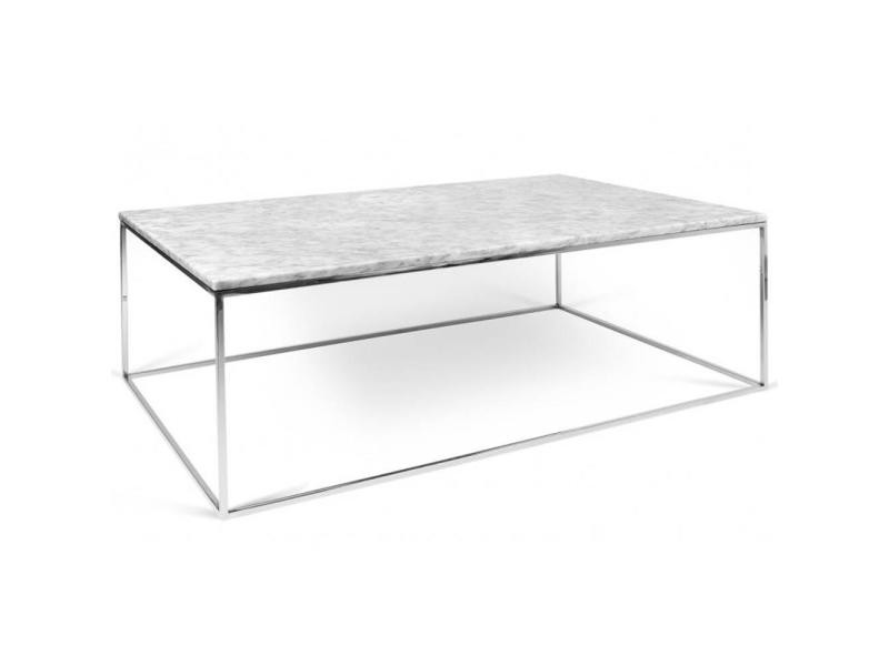 Table Basse Rectangulaire Gleam 120 Plateau En Marbre Blanc