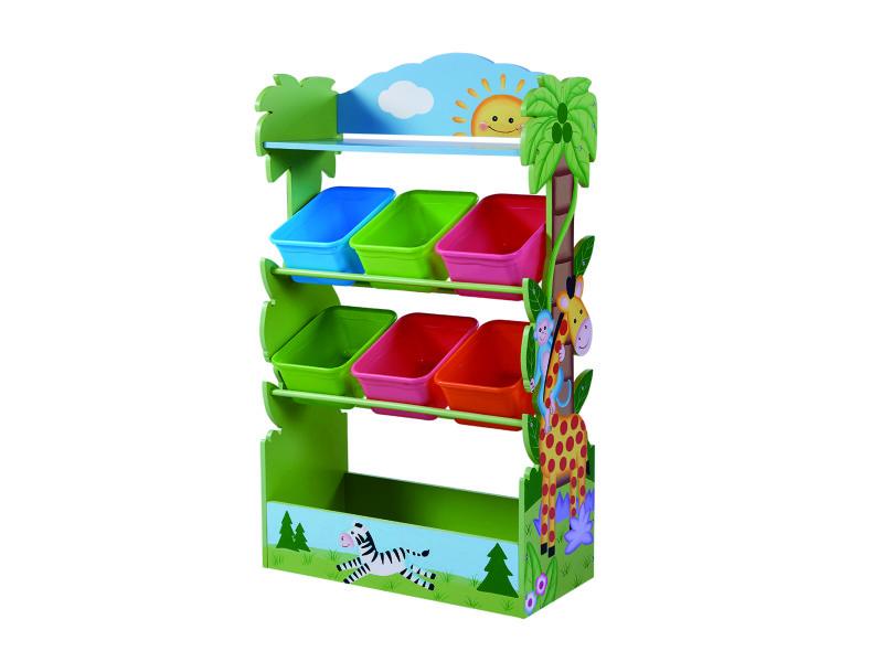 Meuble de rangement à jouets avec bacs en bois safari ensoleillé enfants td-12799a