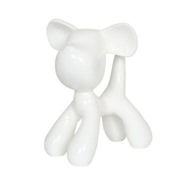 Statue en résine lapin lièvre noir assis 37 cm