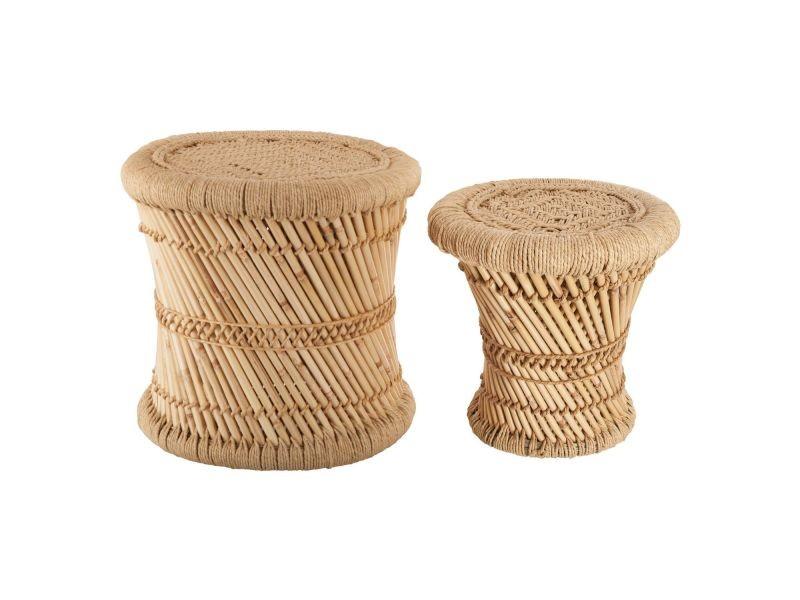 2 tables gigognes en bambou et corde nomade - diam. 30/38 cm