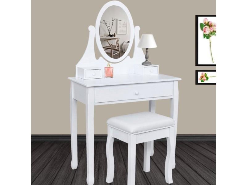 Coiffeuse Table De Maquillage En Bois Avec Miroir Et Tabouret