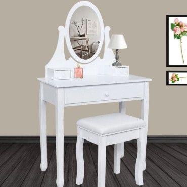 Coiffeuse Table De Maquillage En Bois Blanc Avec Miroir Et