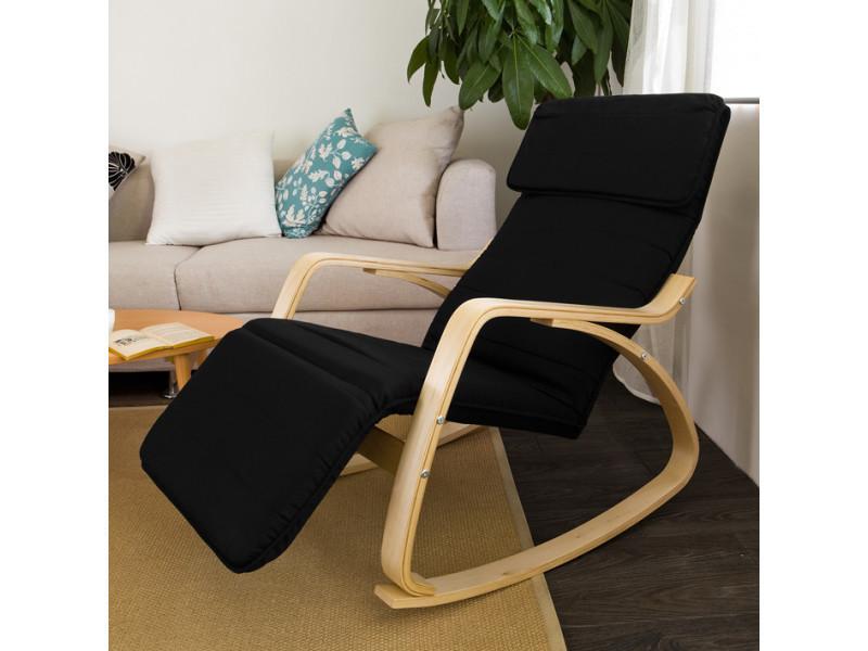 Relax Fauteuil Design.Rocking Chair Fauteuil A Bascule Avec Repose Pieds Reglable Design
