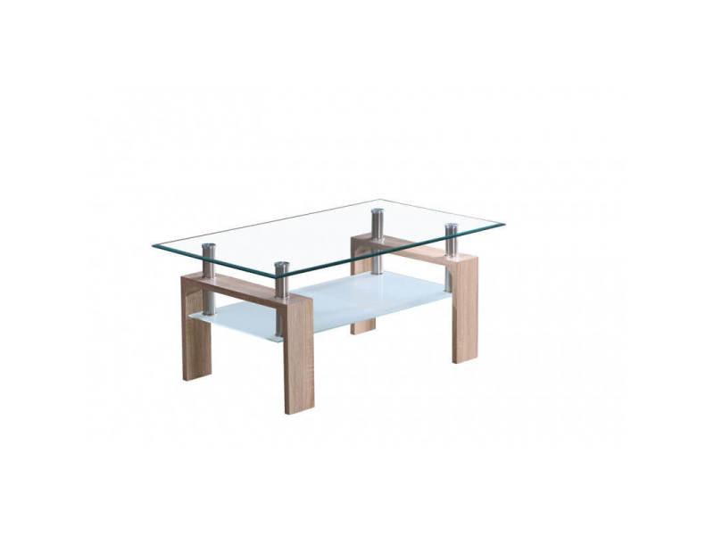Table basse design en verre et bois chêne clair madère